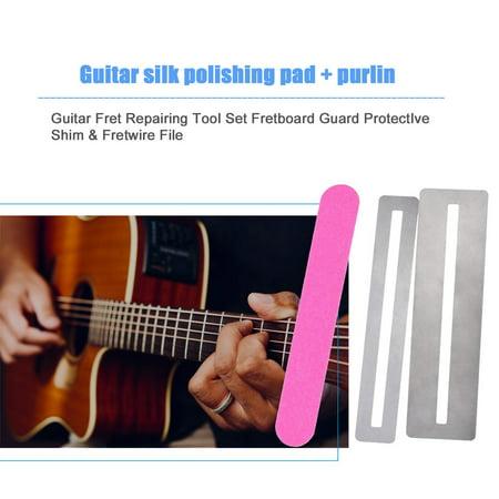 Guitar Fret Repairing Tool Set Fretboard Guard ProtectIve Shim & Fretwire File - image 2 of 9
