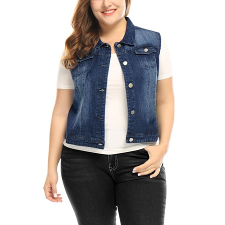 Unique Bargains Women's Plus Size Bust Pockets Slim Fit Denim Vest Blue (Size 2X)