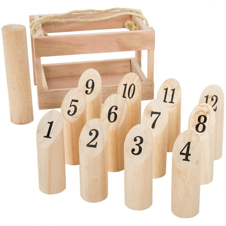 Wooden Throwing Game-Complete Set, 12 Numbered Pins, Throwing Dowel, Carrying Crate-Outdoor Lawn Games For Adults and Kids by Hey! Play! - Spooky Games To Play On Halloween