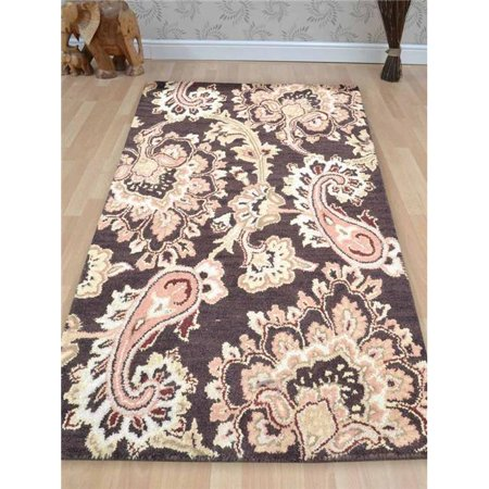 13' Wool - 10 x 13 ft. Hand Tufted Woolen Area Rug, Brown - Floral