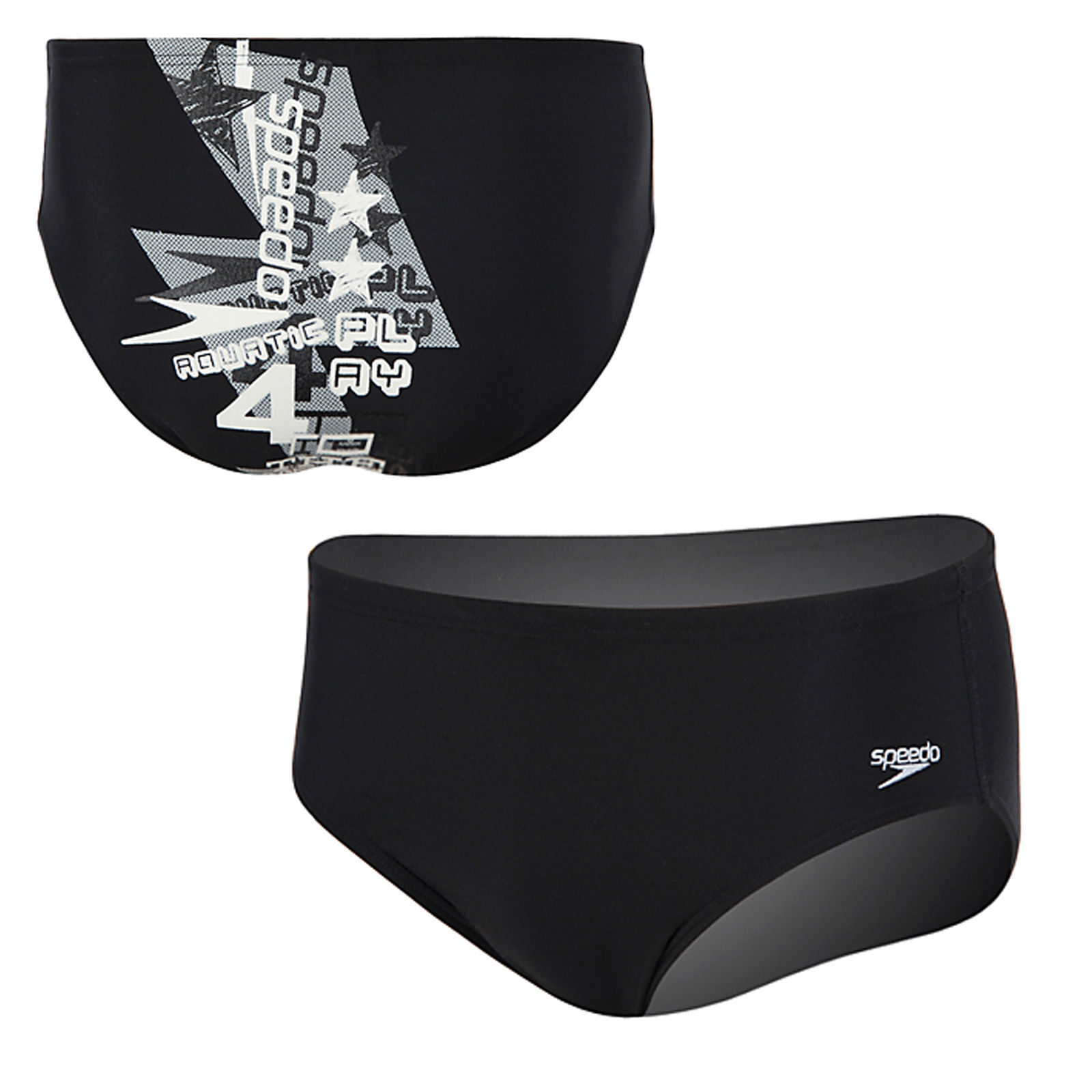 Speedo Men's Endurance Swimsuit Racing Trunk Briefs 8051377 Bolt Black