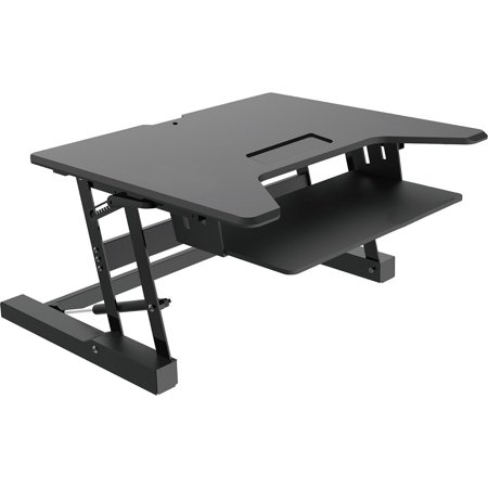 Premium Tabletop Adjustable Height 36 Inch Wide   Sit-Stand Riser Desk with Dedicated Keyboard Tray in Black, 88 Pound Weight (South Premium Outlet Mall)
