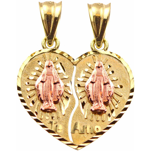 Handcrafted 10kt Yellow and Rose Gold Our Lady of Guadalupe Break Apart Heart Charm Pendant