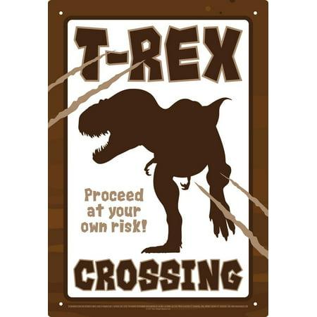 Aquarius Smithsonian T-Rex Dinosaur Crossing Tin Sign 8 x 11.5 ()
