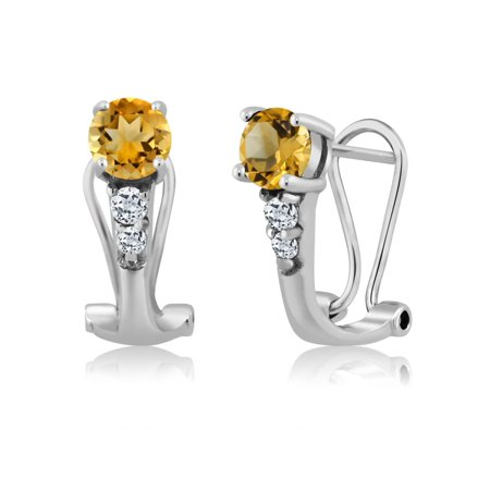 1.14 Ct Round Yellow Citrine White Topaz 925 Sterling Silver Earrings - image 3 of 3