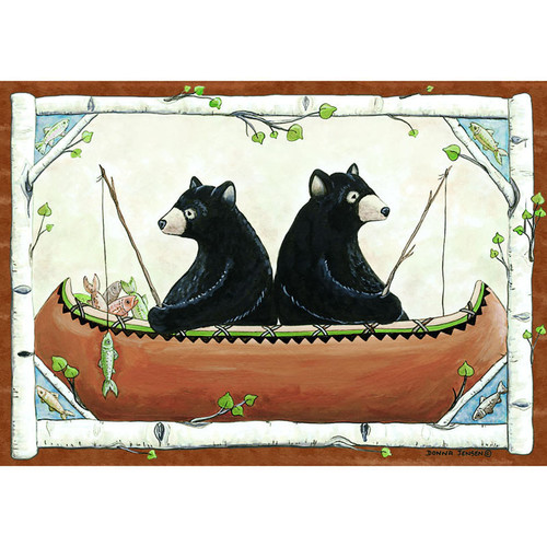 Custom Printed Rugs Wildlife Bears in Canoe Area Rug