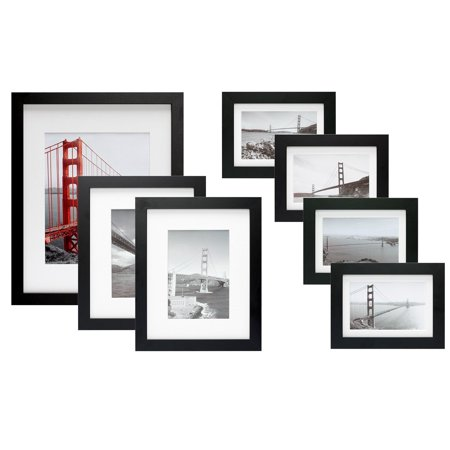 Tayyakoushi 7 Piece Gallery Wall Set With Golden Gate Bridge In San Francisco As The Famous Landmark Wall Art Decor Giclee Photo Print In Black Frame