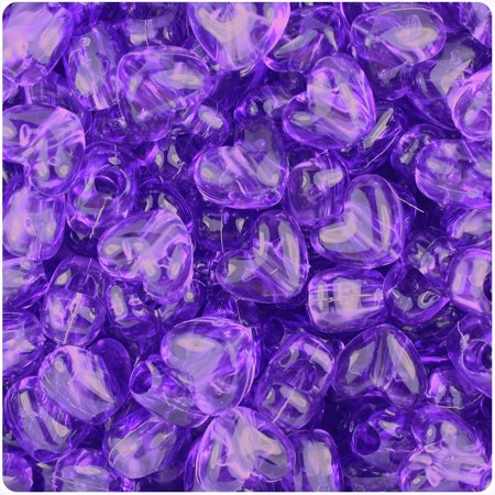 BeadTin Amethyst Transparent 12mm Heart Pony Beads (250pcs)