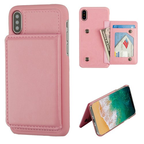 For iPhone XS/X Flip Wallet Executive Protector PC Case with Snap Fasteners