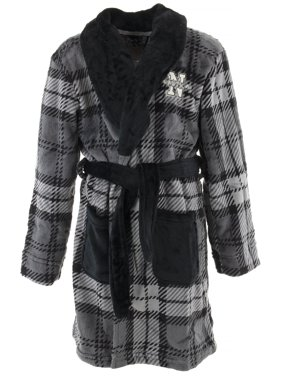 Nautica Boys Gray Plaid Velvet Fleece Bathrobe