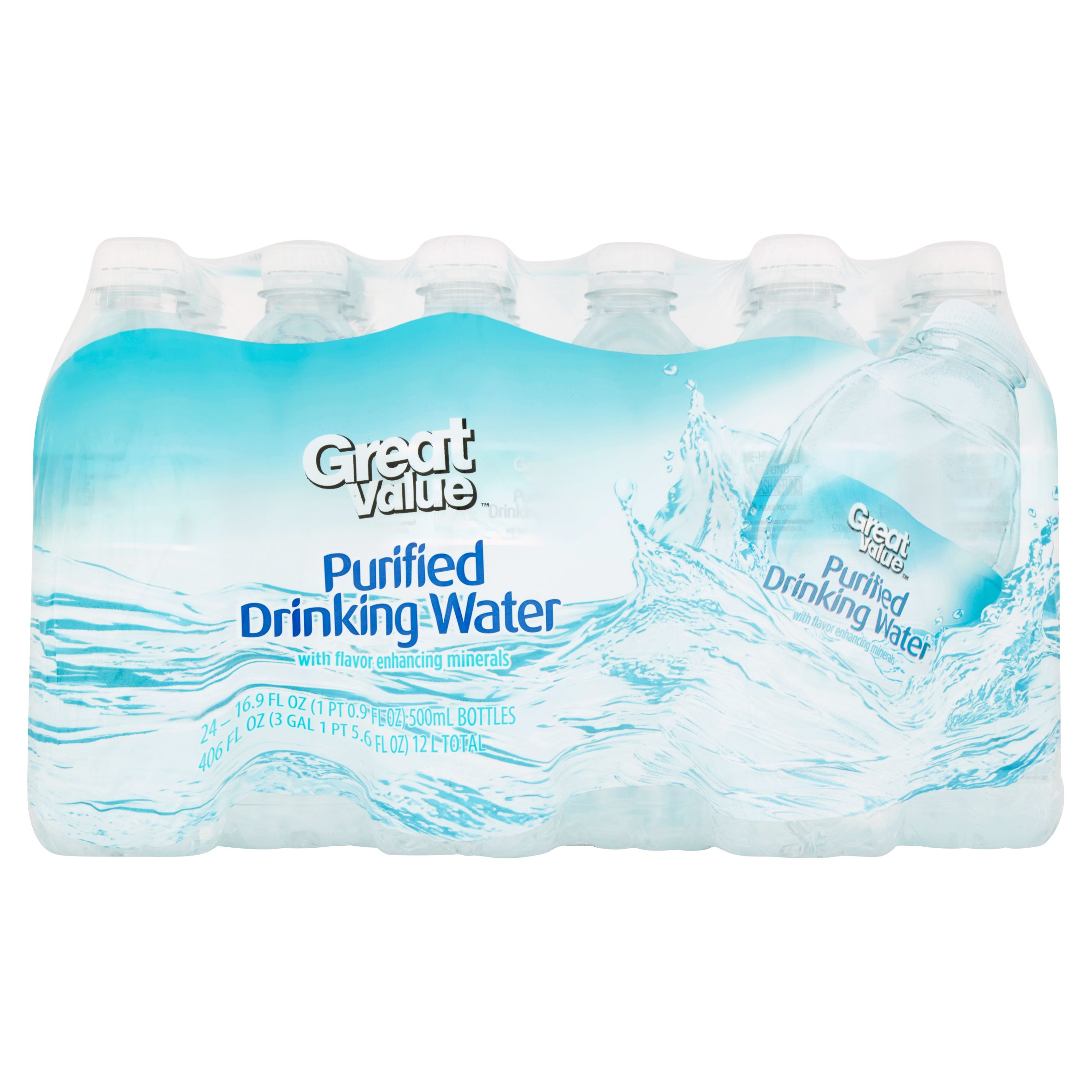 Great Value Purified Drinking Water, 16.9 fl oz, 24 Count