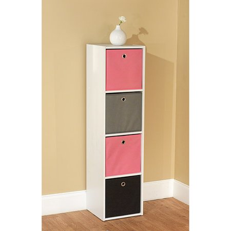 Utility Bookcase Tower with 4 Fabric Bins, Multiple Colors