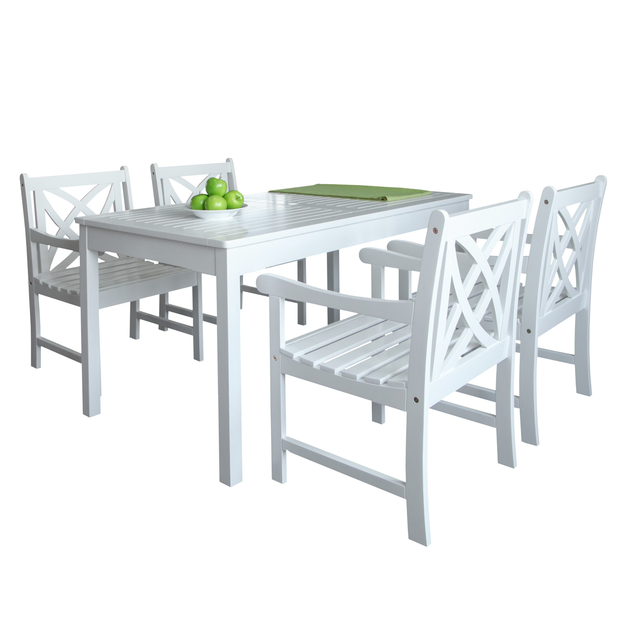 Vifah V1336SET16 Bradley Acacia Dining Set Including Chairs and Dining Table