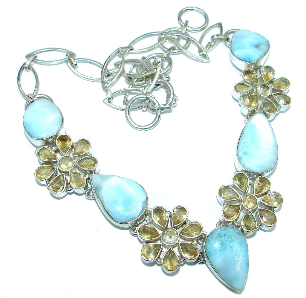 Mega Chunky Larimar Citrine Sterling Silver handcrafted necklace by SilverRush Style by