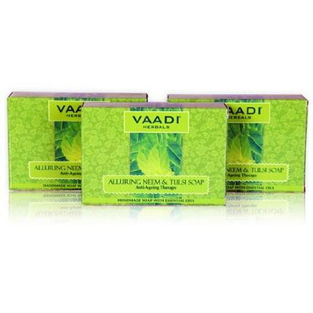 Vaadi Value Soap with Vitamin E, Neem, Tulsi and Tea Tree Oil, 225gm (Pack of 3) Tulsi Neem Moisturizing Formula