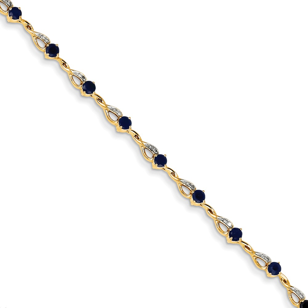 14k Yellow Gold Diamond and Sapphire Bracelet. Carat Wt- 0.1ct. Gem Wt- 2.32ct