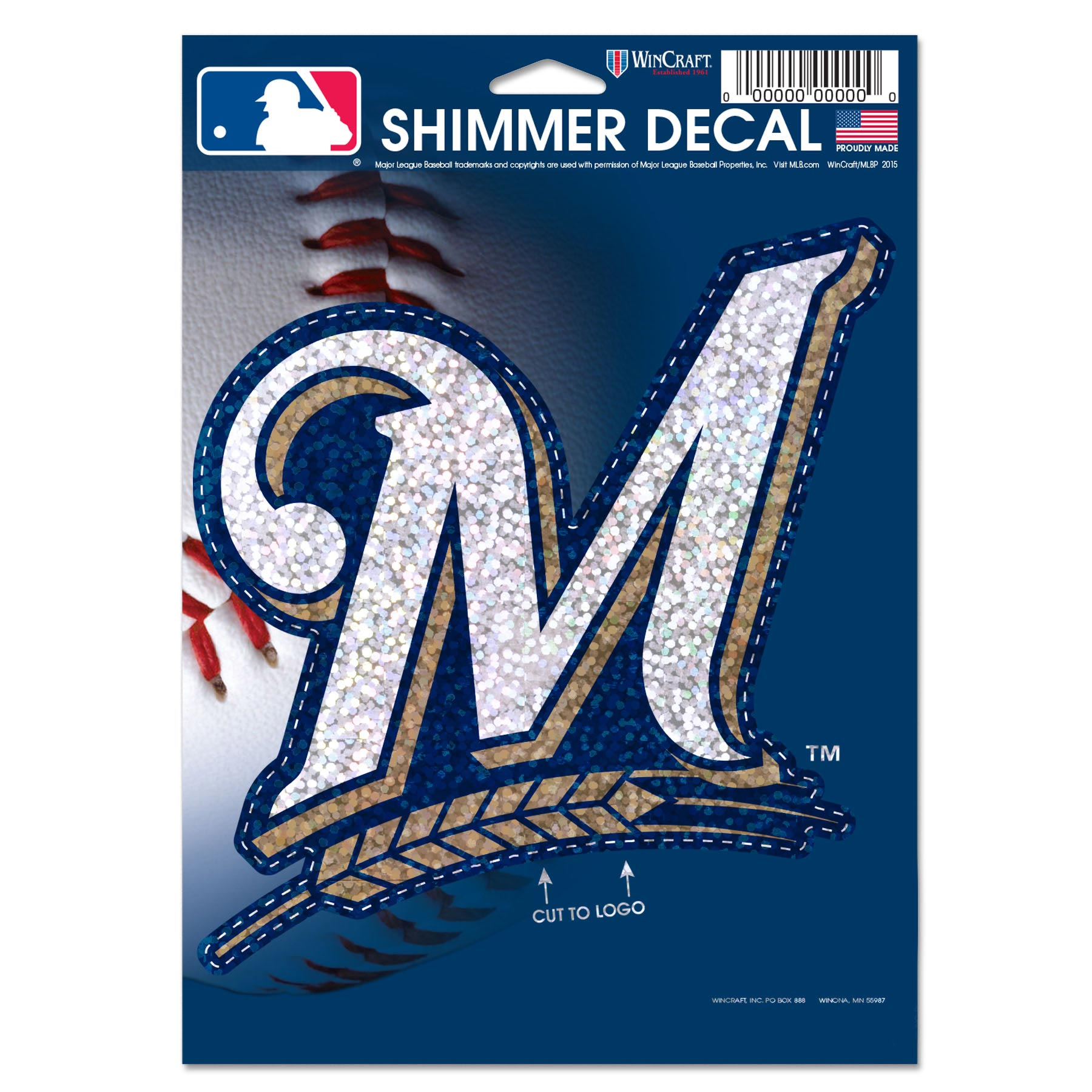 """Milwaukee Brewers WinCraft 5"""" x 7"""" Shimmer Decal - No Size"""