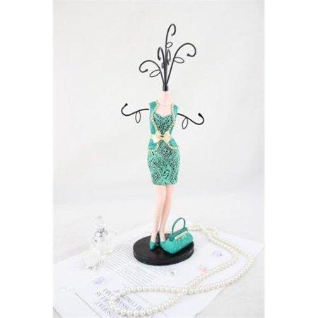 Jacki Design JGS38035EM Cosmopolitan Mannequin Jewelry Holder, Emerald