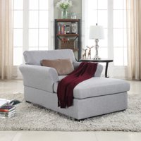 Mobilis Large Classic Linen Fabric Living Room Chaise Lounge, Light Grey