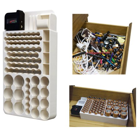 66 Battery Organizer - Battery Storage Organizer Rack 82 Holder Tester Case Box Organize Hold AA AAA 9V