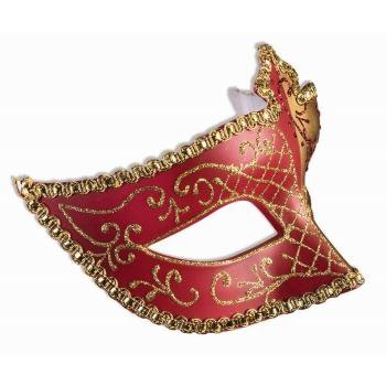 EYE MASK W/RIBBON-GOLD/RED