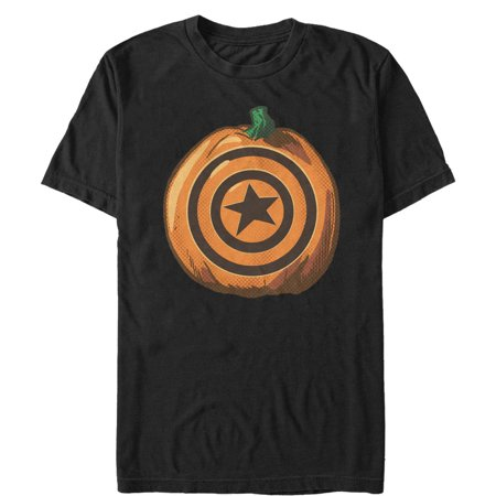 Marvel Men's Halloween Captain America Shield Pumpkin T-Shirt - Captain America Pumpkin Carving