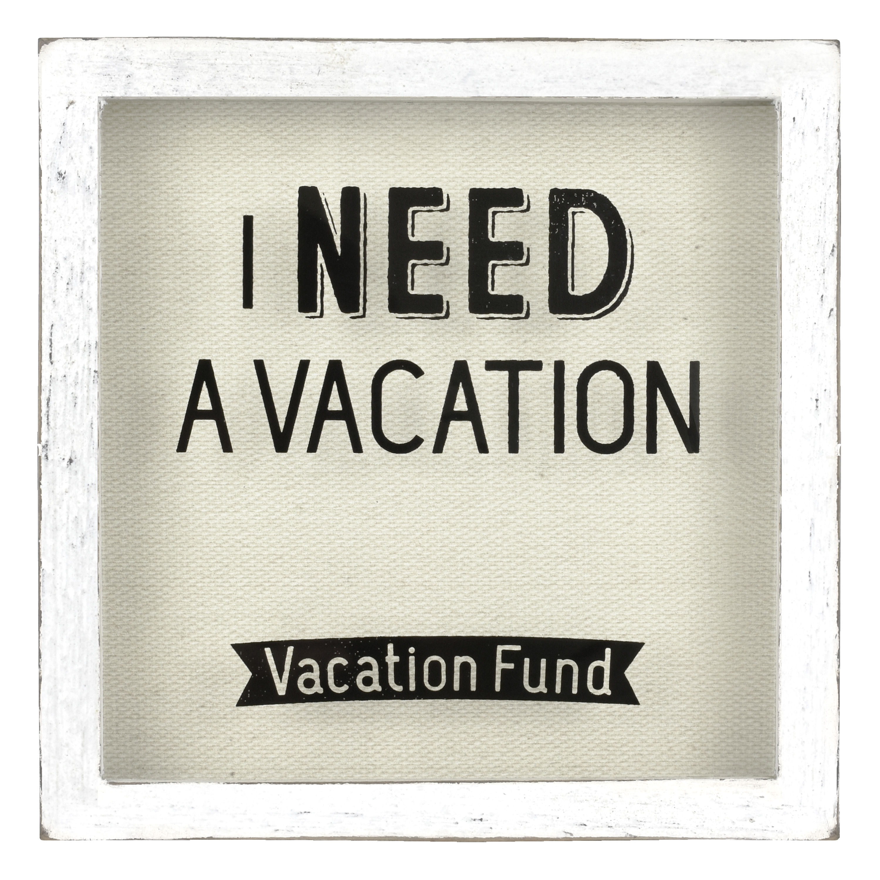 Tabletop Vacation Fund Coin Box, White