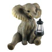 Zeckos Cute African Elephant Porch / Garden Statue W/ Lantern