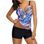 Plus Size Women Two-Piece Swimsuit Braces Swim Top+Black Boy Shorts Swimwear Color Stripe Push-up Beachwear Bathing Swimming L-5XL Blue Stripe Tankini Set L