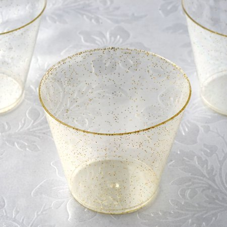 Efavormart 60 Pack 5 oz Gold Glittered Wine Cocktail Disposable Plastic Cups