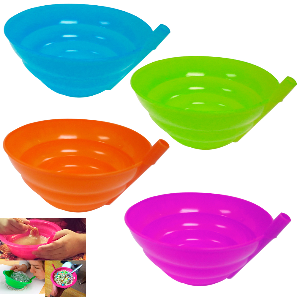 4 Kids Sip A Bowl Built In Straw Plate Plastic Cereal Soup Drink Snack Food Dish