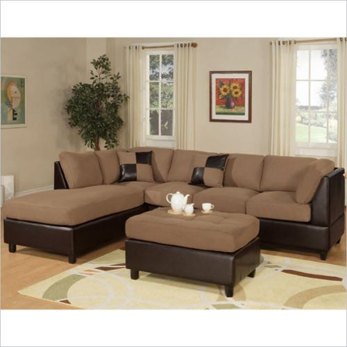 poundex bobkona hungtinton leather 3piece sectional in saddle