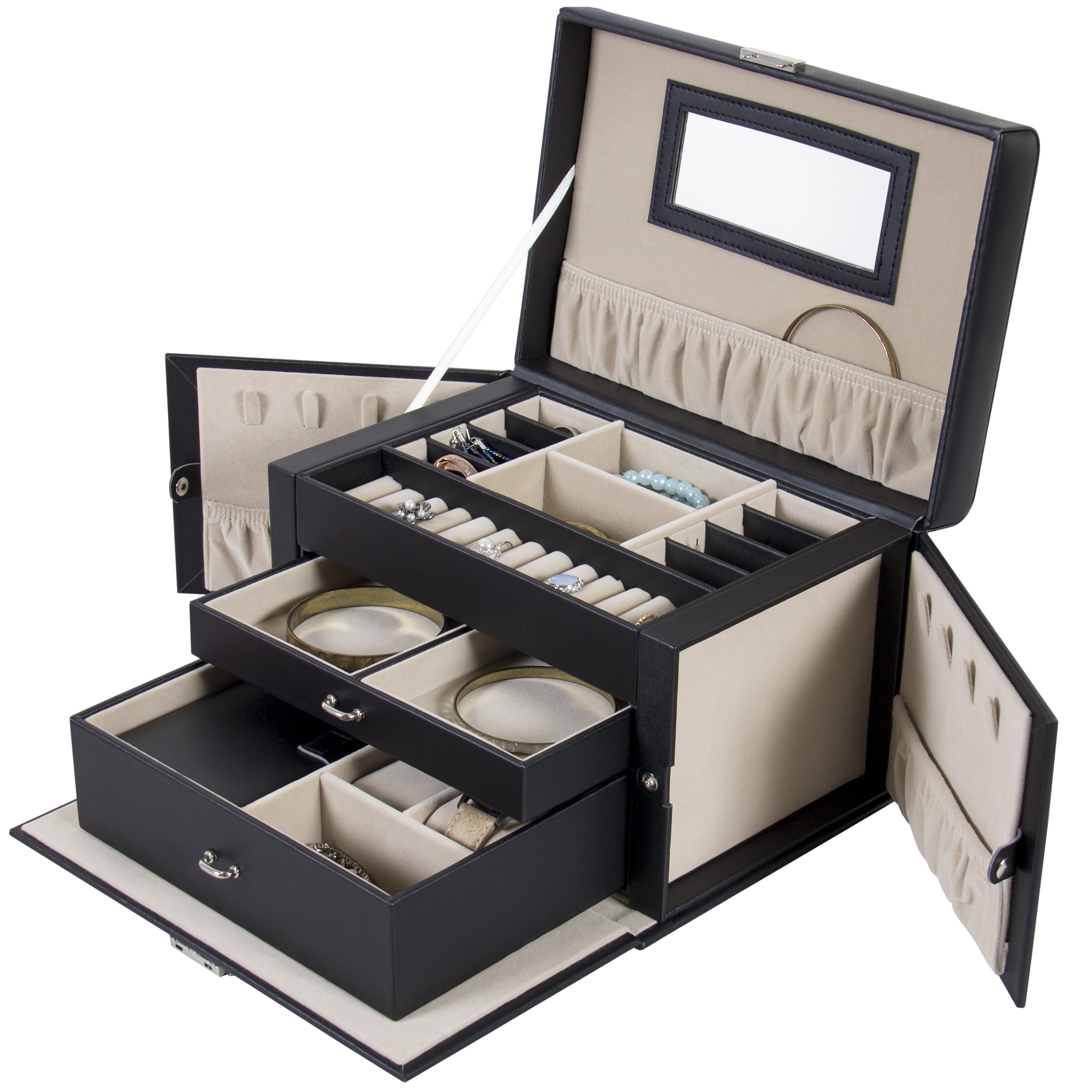 Best Choice Products Leather Jewelry Box And Jewelry Organizer Watch Storage With Mini Travel Case And Keys