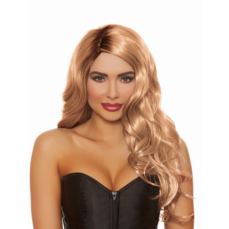Honey Brown Brunette Dip Dye Long Wavy Wig Adult Halloween Accessory - Good Halloween Dips