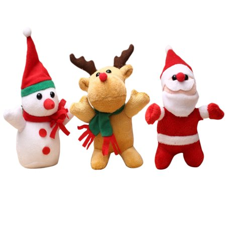 Legendog 3Pcs Christmas Dog Toys Snowman Santa Claus Reindeer Christmas Plush Toys Puppy Toys Pet Playing Toys (Large Stuffed Santa Claus)