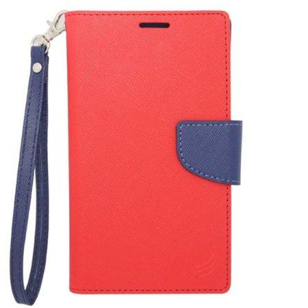 Insten Folio Leather Case For BlackBerry Z10,HTC Desire 520,LG Leon/Tribute 2,Nokia Lumia 1020/630/635/928,Galaxy Avant/Core Prime/J1/S2/S4 Mini/S5 Mini,ZTE Fanfare/Maven/Obsidian/Overture 2 - Red Blackberry Leather Folio Case