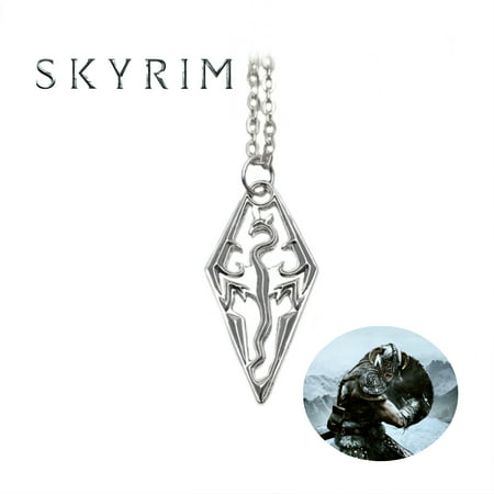 Skyrim Necklace Pendant - Logo - Video Games Cosplay Jewelry by Superheroes ()