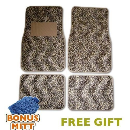 A Set of 4 CHEETAH Universal Fit Animal Print Carpet Floor Mats for Cars / Truck - Cheetah & Bonus Detailing WASH MITT