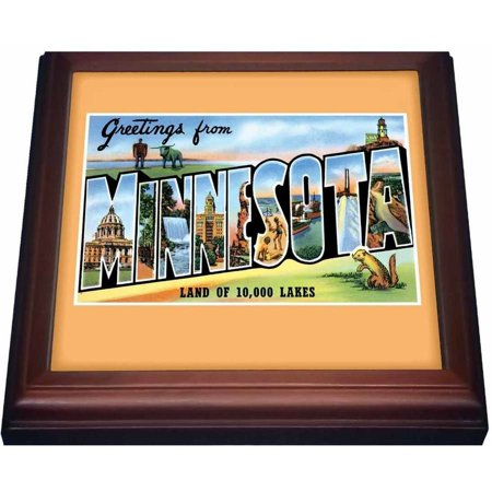 Brown Postcard - 3dRose Greetings from Minnesota Land of 10,000 Lakes Scenic Postcard, Trivet with Ceramic Tile, 8 by 8-inch