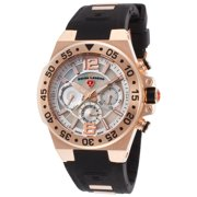 14085Sm-Rg-02 Opus Multi-Function Black Silicone Mother Of Pearl Dial Rose-Tone Case Watch