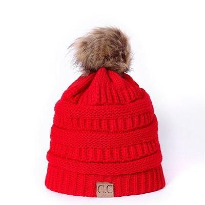 Winter CC Beanie Faux Fur ball Hats Ladies Women Girls Knitted Wool Hat Skullies Thicken Warm Caps