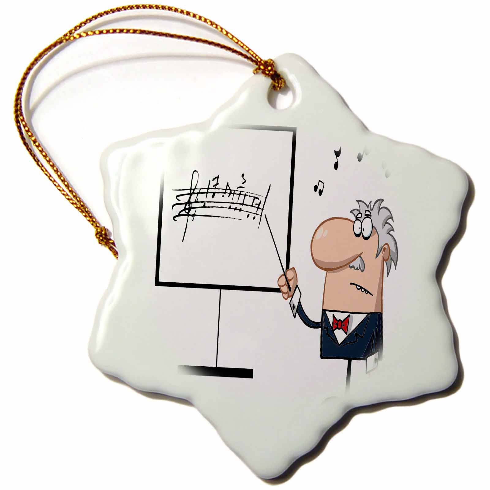 3dRose Funny Music Professor Teacher Cartoon, Snowflake Ornament, Porcelain, 3-inch
