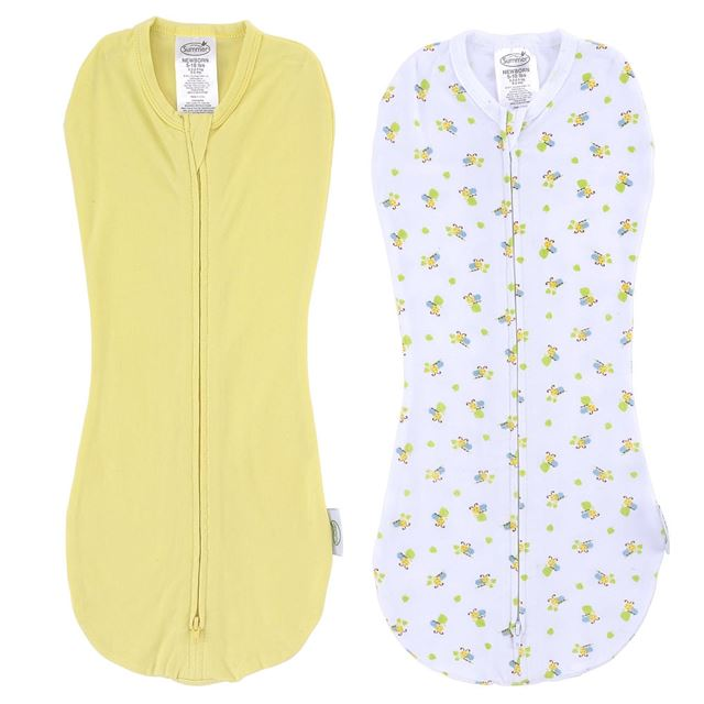 Summer Infant SwaddlePod Cotton Spandex Two-Pack - Caterpillar