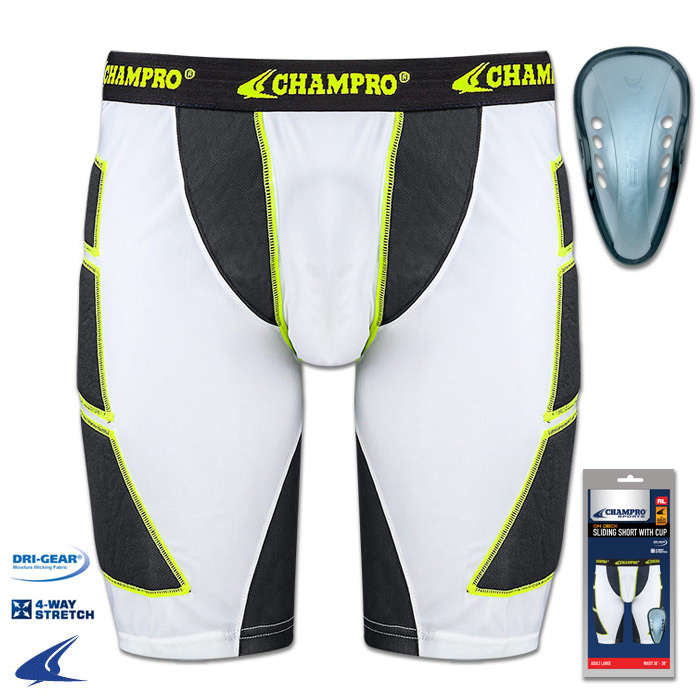 Champro Adult On Deck Sliding Short With Cup - White - Large