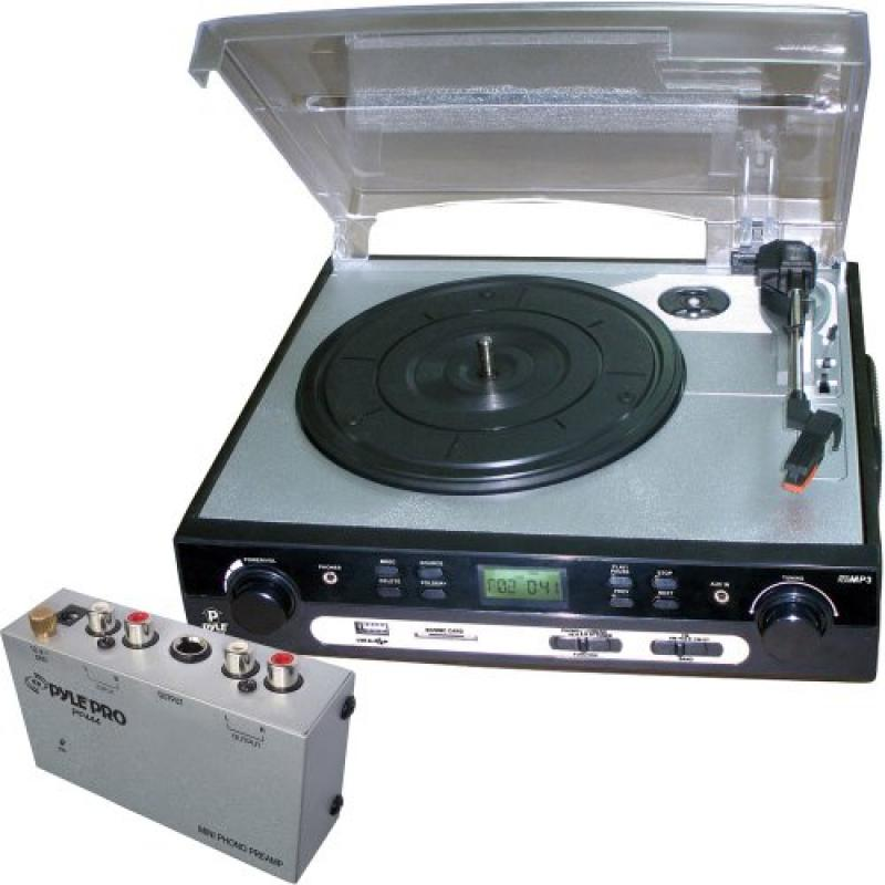 Pyle Turntable Record Player and Pre-Amplifier Package PLTTB9U USB Turntable with... by Pyle