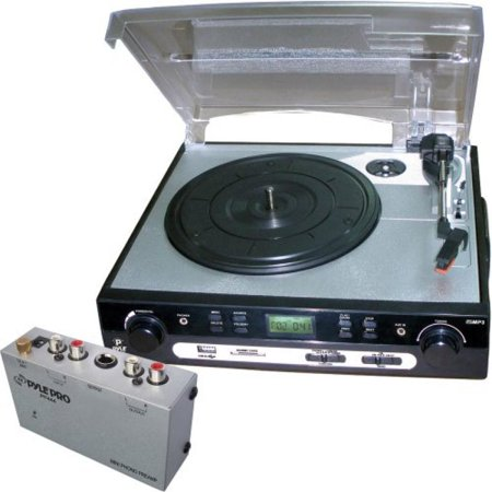 Pyle Turntable Record Player And Pre Amplifier Package   Plttb9u Usb Turntable With Direct To Digital Usb Sd Card Encoder   Built In Am Fm Radio Conversion   Pp444 Ultra Compact Phono Turntable Preamp