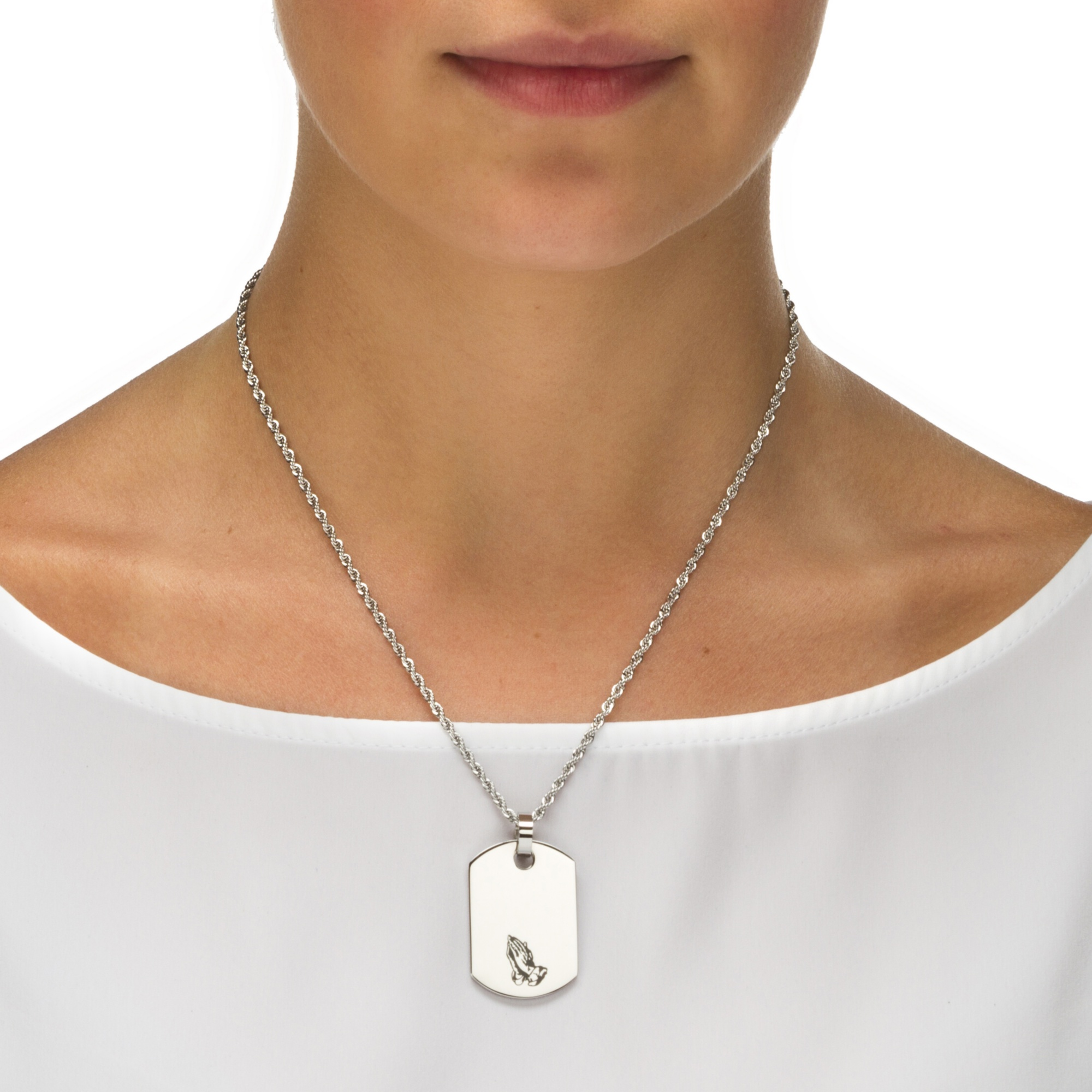 serenity necklace prayer the silver sterling christopher on medal st inch chain