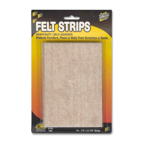 "Master Scratch Guard 88495 Heavy Duty Felt Pad - 16 Pad Of 0.50"" Length X 5.87"" Width - Rectangle - Self-adhesive - Beige - Polyester - 1/pack (MAS88495)"