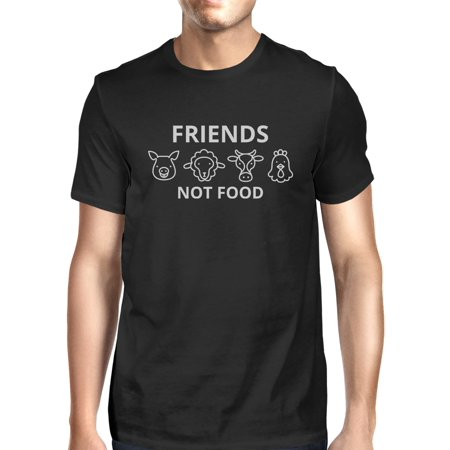 Friends Not Food Mens Black Short Sleeve Cotton Tee Cute Gift Ideas (Halloween Menu Ideas Food)