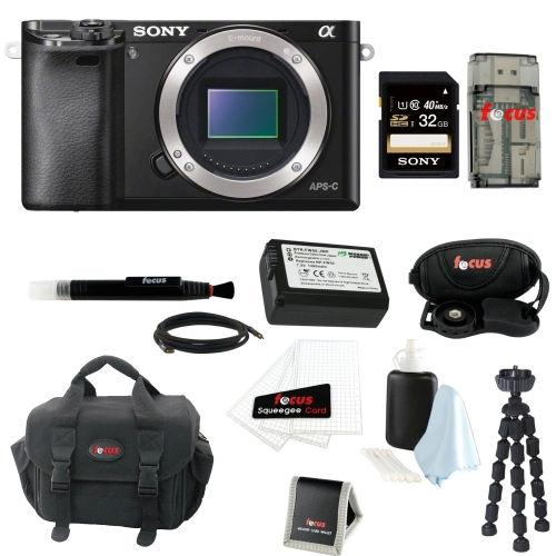 Sony Alpha a6000 Mirrorless Camera with  Gadget Bag and 32GB SD Card Bundle
